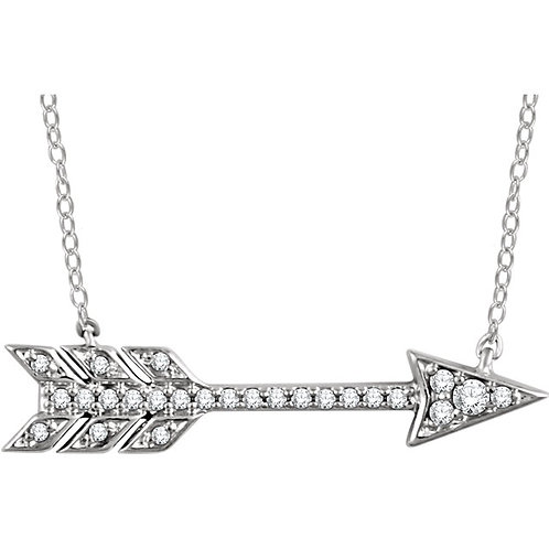 14kt Yellow 0.10 ct Diamond Arrow Necklace