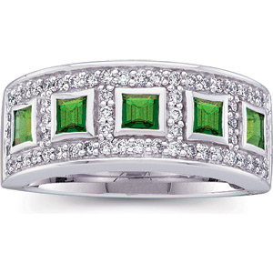 14 Kt. White Gold Diamond And  Emerald Ring