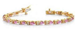 14kt. Y.G. Pink Sapphire And Diamond Bracelet