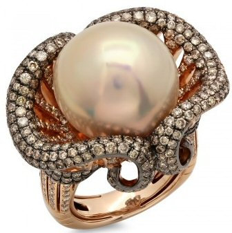 18kt Rose Gold Pearl And 1.69 ct Diamond Ring
