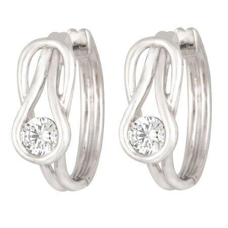 14kt. W.G. Two Diamonds Hoop Earrings