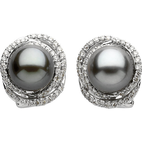 14kt. W.G. Diamond And Cultured Pearl Earrings