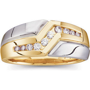 14kt. Tu-Tone 0.33 ct Diamond Men's Ring