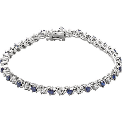 14kt. W.G. Blue Sapphire And Diamond Bracelet