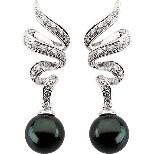 14kt. W.G. Diamond And  Black Pearl Earrings