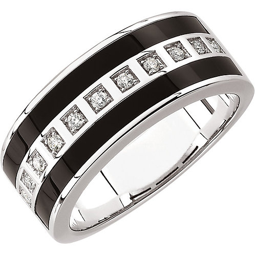 14kt. W.G Onyx And 0.20 ct Diamond Band