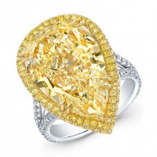 Fancy Yellow Pear Diamond Ring