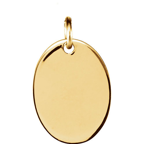 14kt Yellow  Engravable Oval-Shaped Pendant