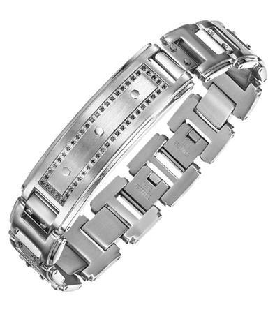 Stainless Steel ID Bracelet with black diamond
