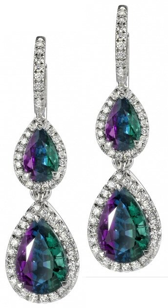 Platinum Alexandrite And Diamond Earrings