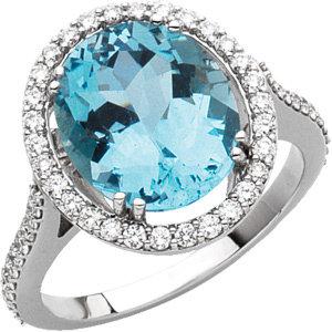 14 Kt. White Gold Diamond And Aquamarine Ring