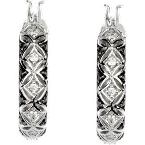 14kt. W.G. Black And White Diamonds Hoop Earrings