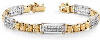 14kt. Tu-tone 1.00 ct Diamond Men's Bracelet