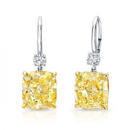 Fancy Yellow Cushion Diamond Drop Earrings