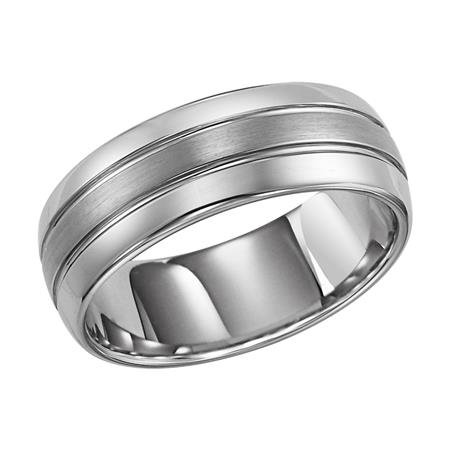 8mm Black Tungsten Carbide Domed Band