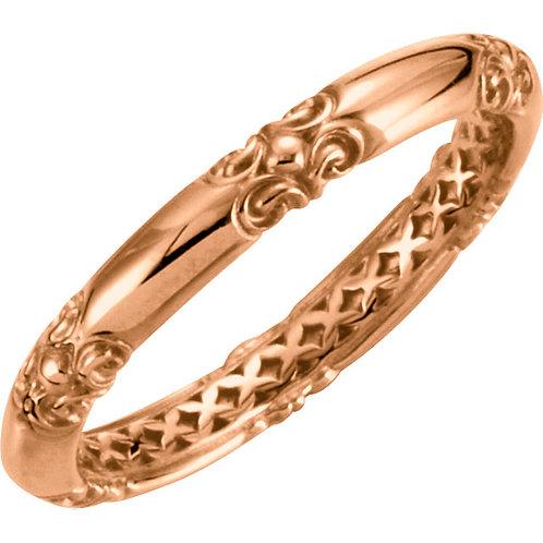 14kt Rose Stackable Sculptural Ring