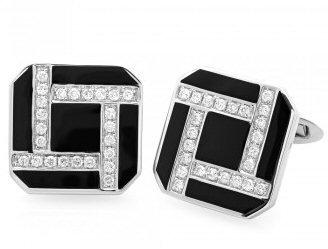 18kt. W.G. 0.60 ct Diamond And Onyx Cufflink