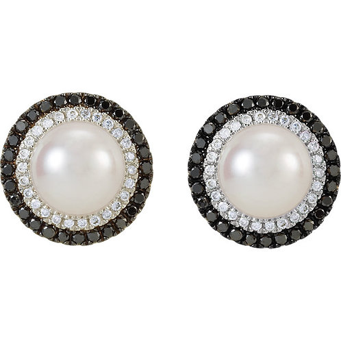 14kt. W.G. Black And White Diamonds And Pearls