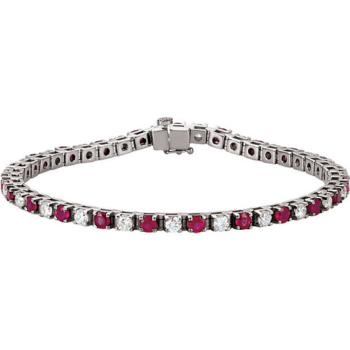 14kt. W.G. Ruby And 2.37 ct Diamond Bracelet