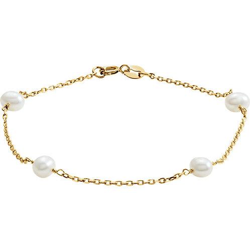 14kt. Y.G. Pearl Bracelet