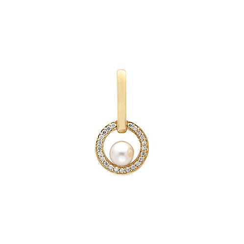 14kt. Y.G. Diamond And Pearl Pendant