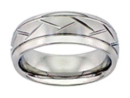8mm White Tungsten Carbide Domed Band