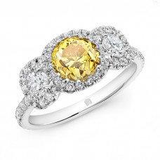 Fancy Vivid Yellow 3 Stone Ring