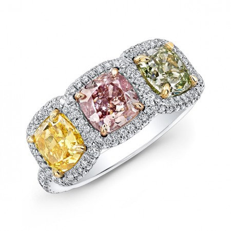 18kt. Yellow, Rose And Platinum Colored Ring