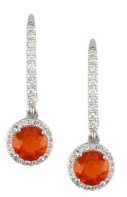 14kt. W.G. Red Opal And Diamond Earrings