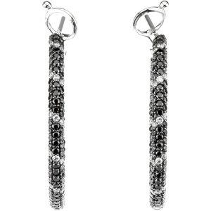 14kt. Black And  White Diamond Hoop Earrings