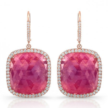 18kt Rose Gold Pink Sapphire Earrings