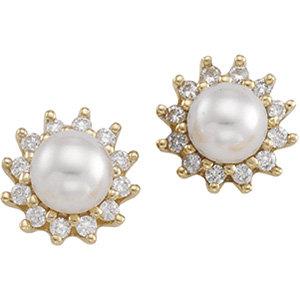 14kt. Y.G. Diamond And Pearl Earrings