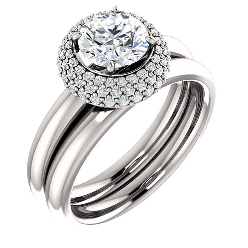 14k W.G 0.20 ct Diamond Engagement Ring