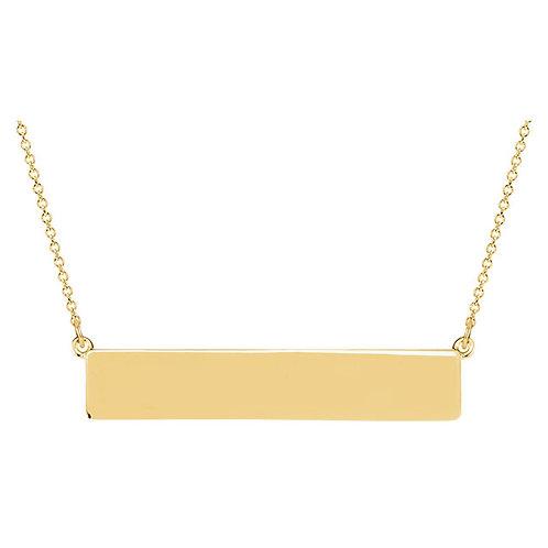 14kt White Engravable Bar Necklace