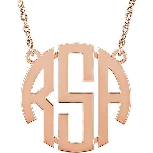 14kt White  3-Letter Block Monogram Necklace