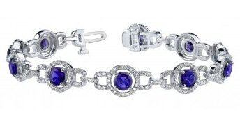 14kt. W.G. Tanzanite And 2.24 ct Diamond Bracelet