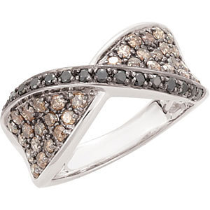 14 Kt. W. G. Black And  Brown Diamond Ring
