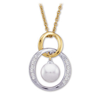 14kt. Tu-Tone 0.15ct. Diamond And Pearl Necklace