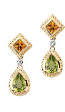 14kt. Y.G. Multicolor Diamond Earrings