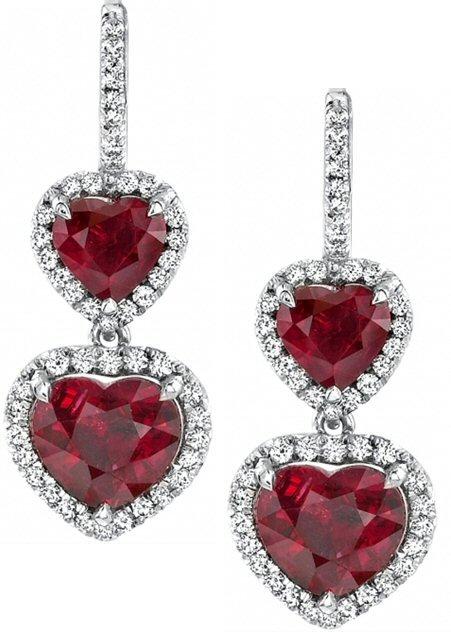 Heart Shape Ruby & Diamond Earrings