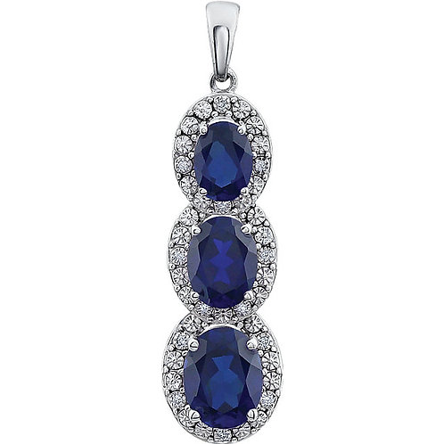 14kt. W.G. 3 Stone Diamond Pendant