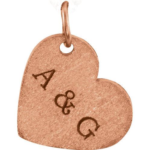 14kt Pink Engravable Heart-Shaped Dangle Pendant