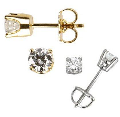 14kt. White or Yellow Diamond Stud Earrings