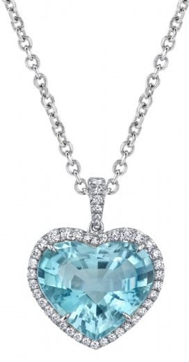 Platinum 0.35 ct Diamond  And Tourmaline Pendant