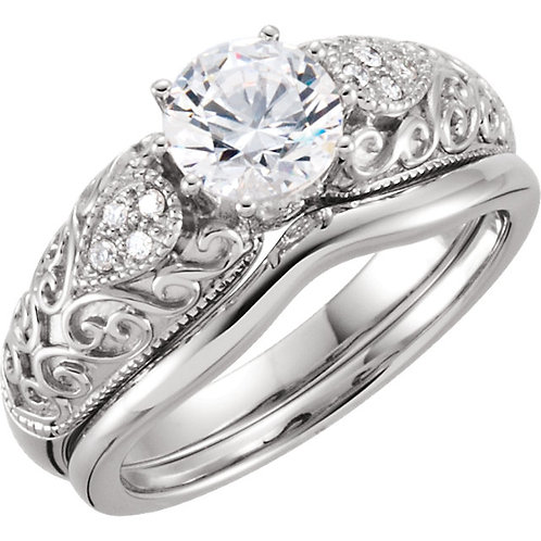 14k W.G 0.07 ct Diamond Engagement Ring