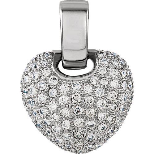 14kt. W.G 1.00 ct Diamond Heart Pendant
