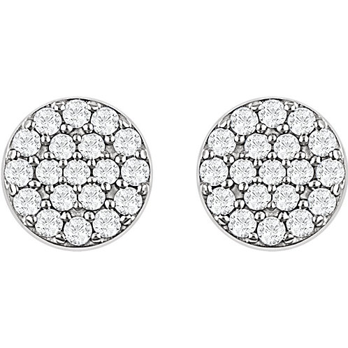 14kt White 0.33 ct Diamond Cluster Earrings
