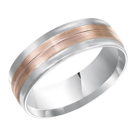 14kt. White & Rose Gold Comfort Fit Wedding Band