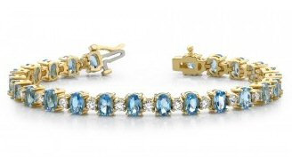 14kt. Y.G. Aquamarine And 1.50 ct Diamond Bracelet