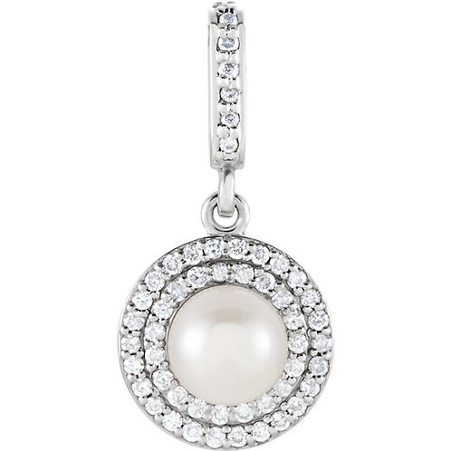 14kt. W.G. Diamond And 6.00 mm Pearl